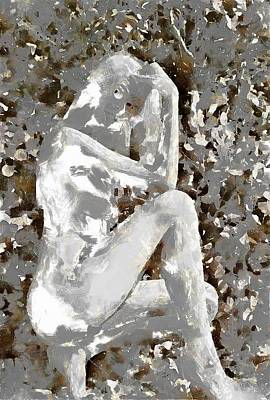 Digital Art - Nude Study In Chalk by Mario Carini