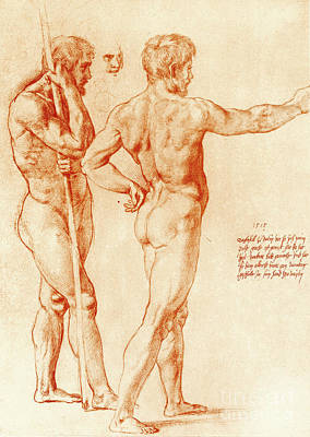 Model Drawing - Nude Study Of Two Warriors by Raphael