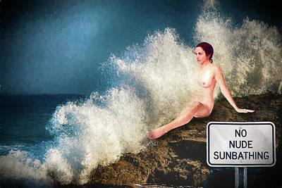 Digital Art - Nude Sunbathing By Rembrandt by John Haldane