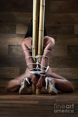 Art Nude Erotic Bondage Photograph - Nude, Tied To A Bamboo Tube - Fine Art Of Bondage by Rod Meier