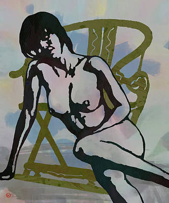 Saxophone Mixed Media - Nude With Armchair - Art Poster by Kim Wang