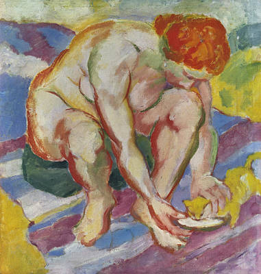 Franz Marc Painting - Nude With Cat by Franz Marc