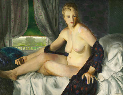Bellows Wall Art - Painting - Nude With Fan by George Bellows