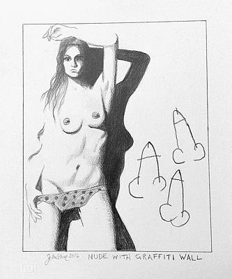 Penis Drawing - Nude With Graffiti Wall by Ray Johnstone