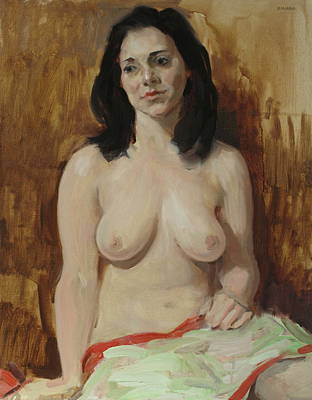 Painting - Nude With Green Drape Over Lap by Robert Holden