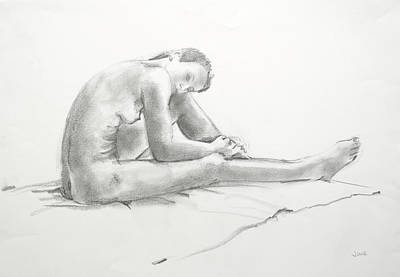 Nude With Long Legs Art Print by June Schneider