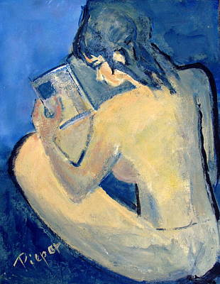 Painting - Nude With Nose In Book by Betty Pieper