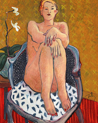 Painting - Nude With Orchid by Thomas Tribby
