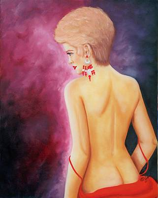 Girl Painting - Nude With Red Ear Ring by Joni McPherson