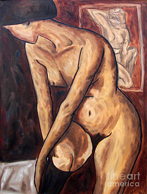 Painting - Nude With Stocking Tribute To Adolf Erbsloh, Series On Expressionism by Alessandro Nesci
