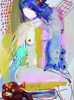 Painting - Nude With Yellow Stripe by Amara Dacer