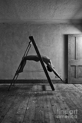 Photograph - Nude Woman Balanced On Ladder by Clayton Bastiani