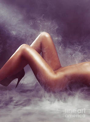 Erotica Photograph - Nude Woman Body In Clouds Of Smoke by Oleksiy Maksymenko
