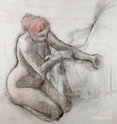 Pastel - Nude Woman Drying Herself After The Bath by Edgar Degas