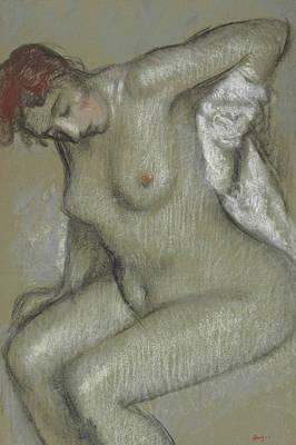 Degas Drawing - Nude Woman Drying Herself by Edgar Degas