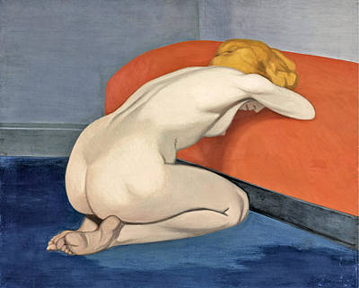 Nude Woman Kneeling In Front Of A Red Couch Art Print by Felix Vallotton