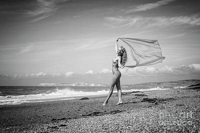 Photograph - Nude Woman On Beach With Material by Clayton Bastiani