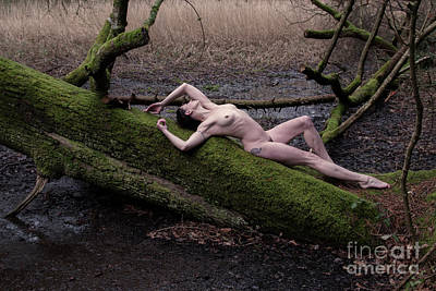 Photograph - Nude Woman On Mossy Tree by Clayton Bastiani