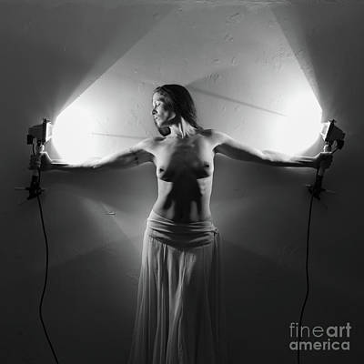 Photograph - Nude Woman Pulling Shape With Torches by Clayton Bastiani