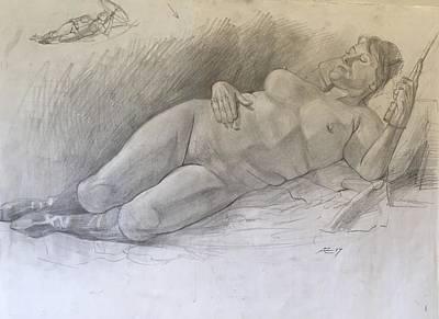 Nude Woman Resting Art Print by Alejandro Lopez-Tasso