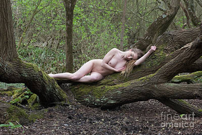 Photograph - Nude Woman Resting On Tree Trunk by Clayton Bastiani