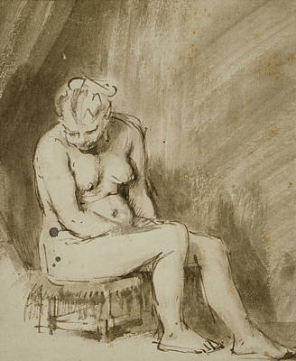 Nudes Drawing - Nude Woman Seated On A Stool  by Rembrandt