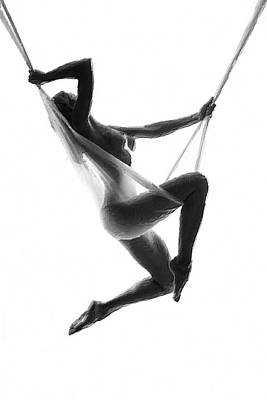 Painting - Nude Woman Suspended On Silk Black On White by Tony Rubino
