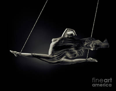 Nude Woman Swinging In Splits In The Air With Bondage Rope And F Art Print by Oleksiy Maksymenko