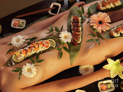 Photograph - Nude Woman With Nyotaimori Sushi Served On Her Naked Body by Oleksiy Maksymenko