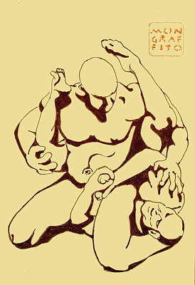 Drawing - Nude Wrestlers by Mon Graffito