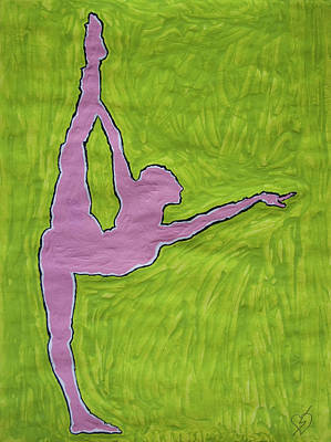 Dancer Painting - Pink Nude Yoga Girl by Stormm Bradshaw
