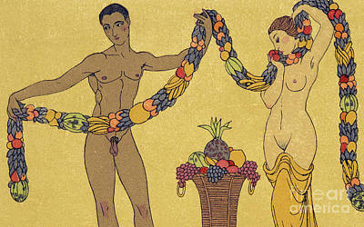 Frontal Nude Painting - Nudes  Illustration From Les Chansons De Bilitis by Georges Barbier