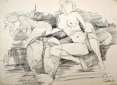 Sexual Human Nature Painting - Nudes by Padamvir Singh