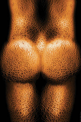 Cantaloupe Photograph - Nudist - Just Cheeky by Mike Savad