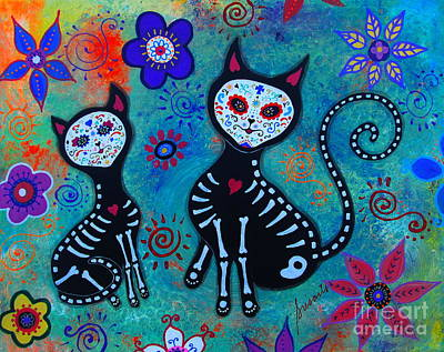 Nuestros Dos Gatos Art Print by Pristine Cartera Turkus