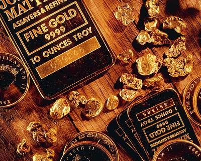 Gold Nugget Photograph - Nuggets, Bars And Coins Made Of Gold by David Nunuk