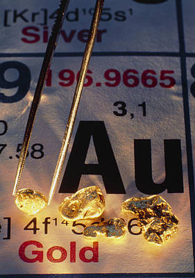 Gold Nugget Photograph - Nuggets Of Gold On Periodic Table by David Nunuk