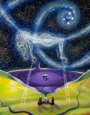 Visionary Artist Painting - Nuit And The Seven Sisters by Shelley Irish