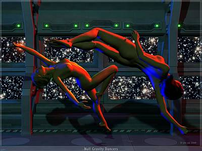 Science Fiction Digital Art - Null Gravity Nudes by Jim Coe