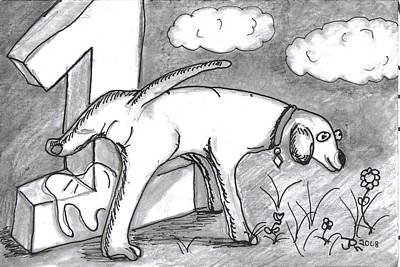 Pee Drawing - Number 1 Funny Dog Art by Joshua Hullender