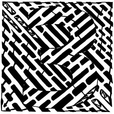 Learn To A Maze Drawing - Number 3 Maze by Yonatan Frimer Maze Artist