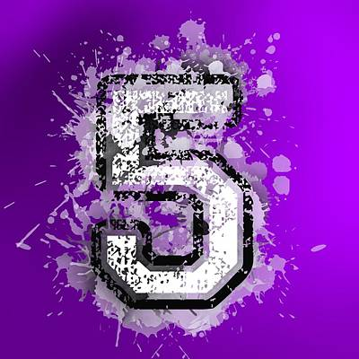 Text Digital Art - Number Five Over Violet by Alberto RuiZ