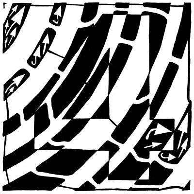 Learn To A Maze Drawing - Number Four Maze by Yonatan Frimer Maze Artist
