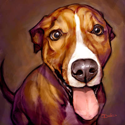 Dog Portrait Painting - Number One Fan by Sean ODaniels