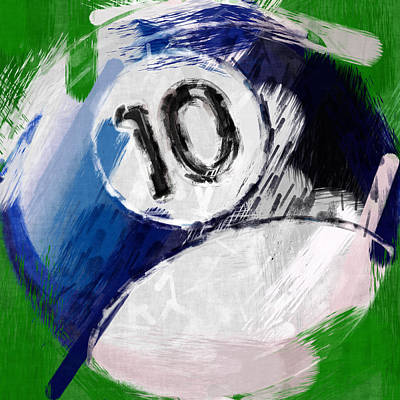 Billiards Digital Art - Number Ten Billiards Ball Abstract by David G Paul