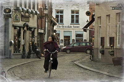Nun On A Bicycle In Bruges Original by Joan Carroll