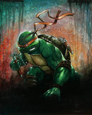 Teenage Mutant Ninja Turtles Painting - Nunchuch Ninja by Ken Hancock