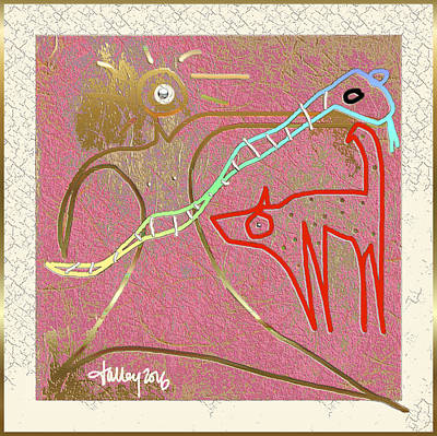 Painting - Nuprimitive Cave Painting - Three by Larry Talley