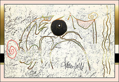 Painting - Nuprimitive Cave Painting - One by Larry Talley