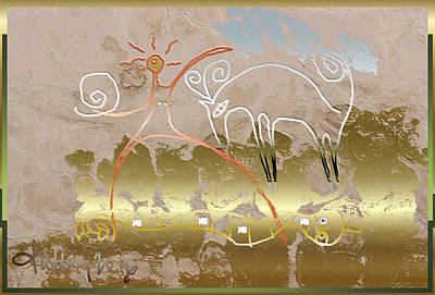 Painting - Nuprimitive Cave Painting - Four by Larry Talley